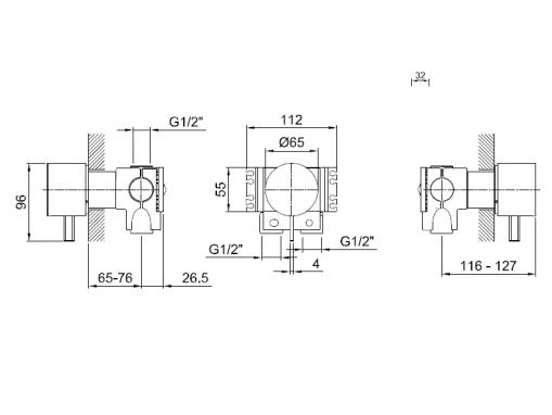 Fantini 1700 A563A Встраиваемая часть смесителя для душа
