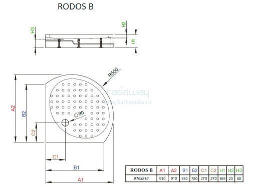 Radaway Rodos B Поддон 91х91см