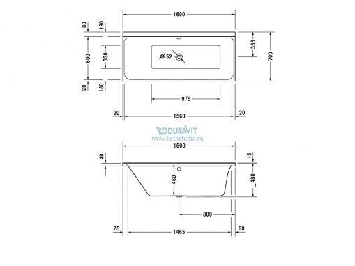 Duravit P3 Comfort 700371 Ванна 160x70см