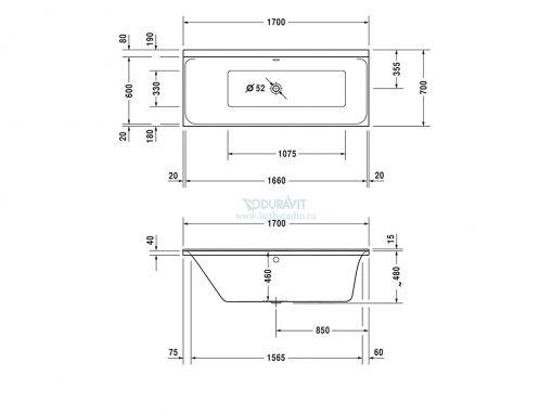 Duravit P3 Comfort 700373 Ванна 170x70см