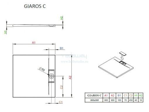 Radaway Giaros C90 Поддон 90х90см