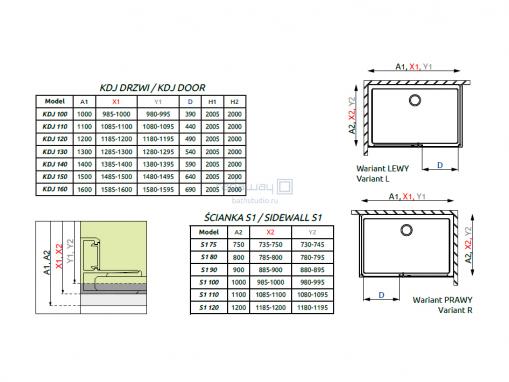 Radaway Idea KDJ Душевые уголки 100-160см