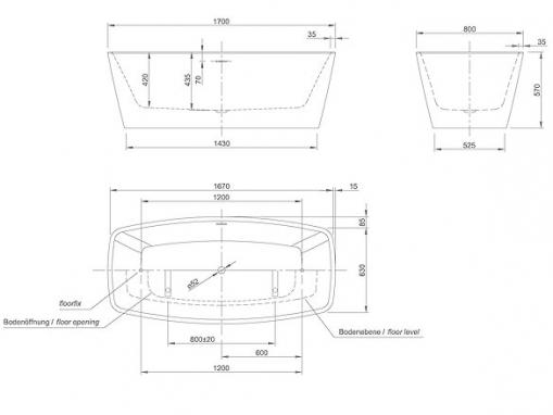 Ванна акриловая Knief Cube 170х80