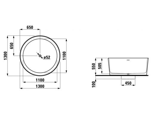 Круглая ванна Laufen VAL d130