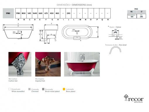 Чугунная ванна Carlton 178х80