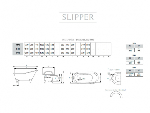 Ванна на ножках Slipper 154x77