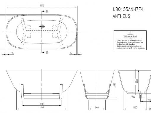 Квариловая ванна Villeroy&Boch Antheus 155