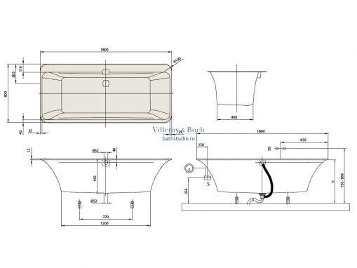 Квариловая ванна Villeroy&Boch Squaro Edge 180 oval