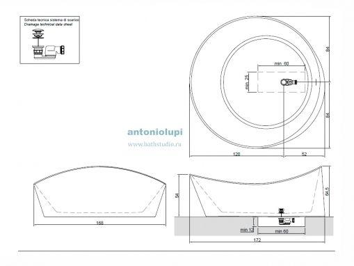 Antonio Lupi Dune1, размеры