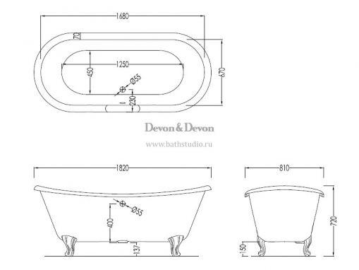 Devon Devon Admiral Чугунная ванна 182х81см, размеры