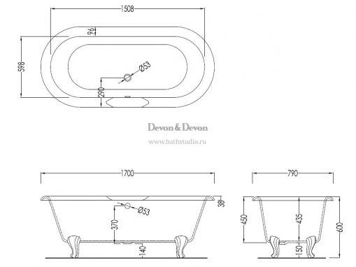 Devon Draycott Чугунная ванна 170х79см, размеры