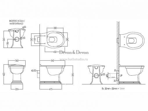 Devon Devon Westminster Унитаз приставной, размеры