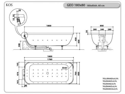 Ванна KOS GEO 180х80