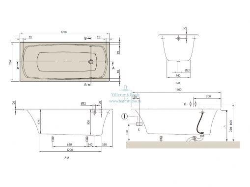 Прямоугольная ванна Villeroy&Boch My Art 175