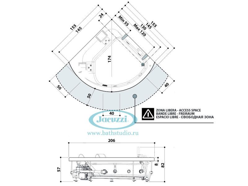 Jacuzzi Aquasoul Corner 155, размеры