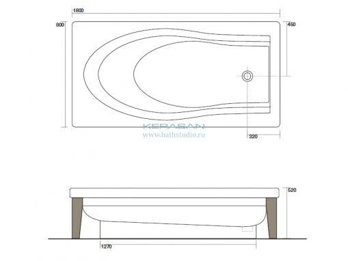 Kerasan Bentley 3950 Ванна 180x80см