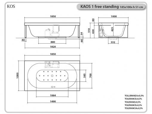 Ванна KOS KAOS 1 отдельностоящая 185х100см