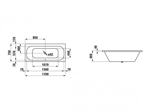 Ванна акриловая Laufen Solution 170х75