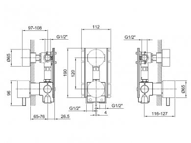 Fantini 1700 A585A Встраиваемая часть смесителя для душа, 2