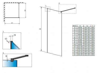 Душевые ограждения Radaway Modo New Black II Frame 50 - 130см