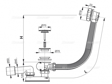 Alcaplast A55KM Слив-перелив для ванны, хром