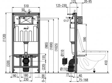 Инсталляция для унитаза Alcaplast AM101/1120-4:1 комплект с кнопкой