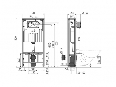 Инсталляция для унитаза Alcaplast AM1116/1120 на пол