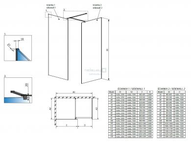 Radaway Modo New Black III Frame Walk-In  Душевая перегородка