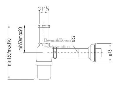 Devon&Devon 2DDA321 Сифон для раковины, размеры