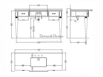 Devon Bentley Vanity Unit, размеры
