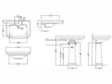 Devon&Devon Classica Раковина 70х52см. размеры