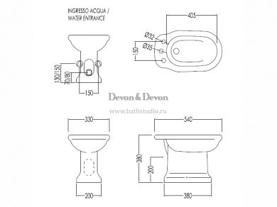 Devon&Devon Etoile Биде напольное, размеры