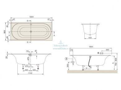 Квариловая ванна Villeroy&Boch Cetus 180