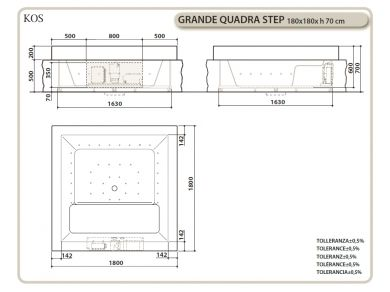 Ванна KOS GRANDE QUADRA STEP
