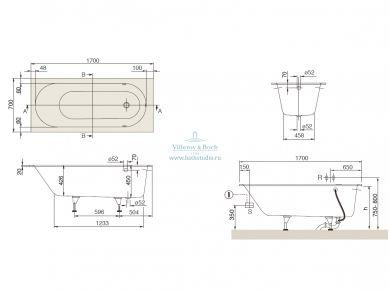 Квариловая ванна Villeroy&Boch Oberon 170х70