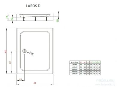 Radaway Laros D Поддон 80х90см